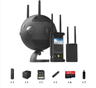 Premium Combo includes 1x Insta360 Pro2, 1x Farsight, 1x Battery, 1x Charging Station, and 1x Memory Card Accessory Bundle.